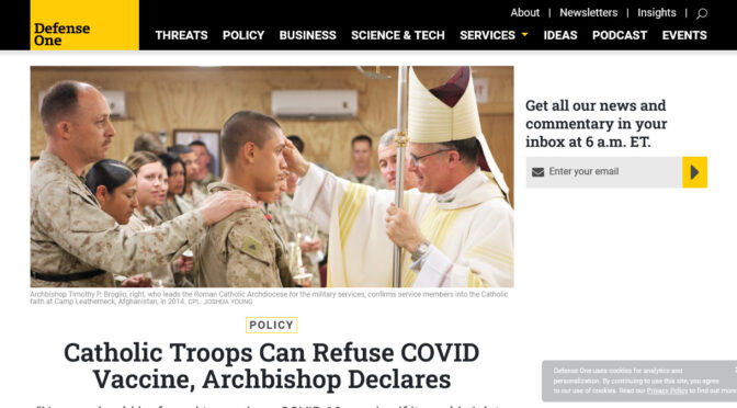 U.S. Military can refuse the DeathVaxx, declares Catholic Archbishop