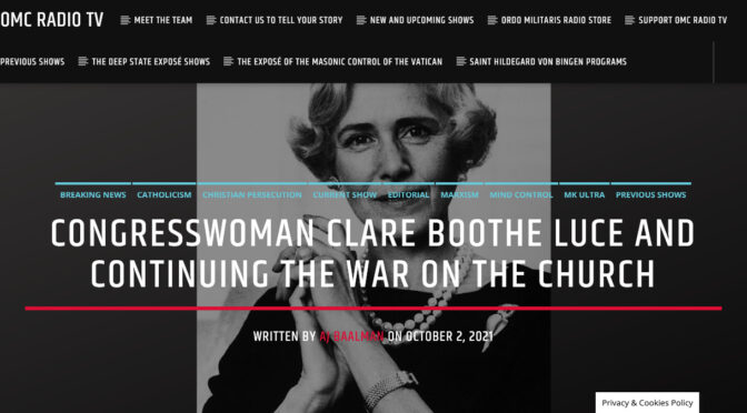 Clare Boothe Luce — The Mata Hari of the Deep State in its war against the Catholic Church